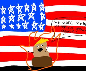 trump potato on fire