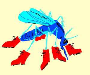 Blue Mosquito wears Red Boots