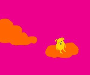 Sad adventure time dog on cloud
