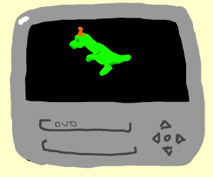 Dinosaur on old fashioned tv