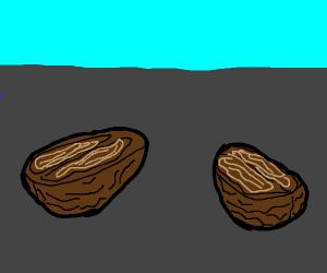 a opened walnut