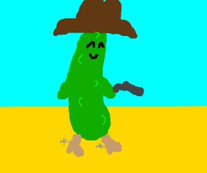 A cowboy cucumber in the desert