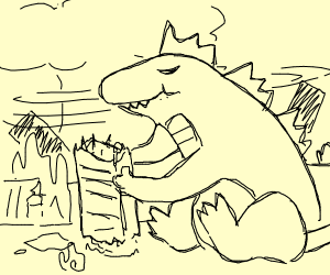 Godzilla is a messy eater