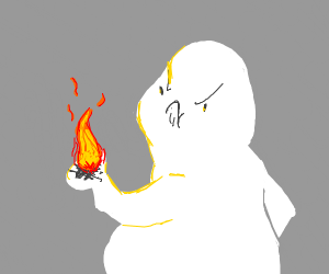 white thing frowning at fire in hand