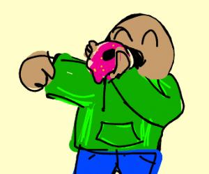 Green Jacket Boy Eats Donut Of Hope