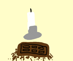 melting chocolate under a candle
