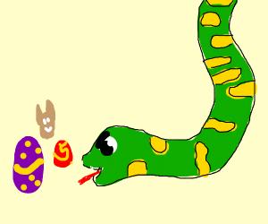 Snake eating easter eggs