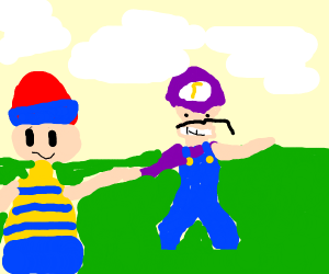 Ness hanging out with Waluigi
