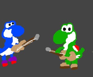 Yoshi and his two clones start a band