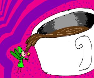Tiny fairy drinking coffee