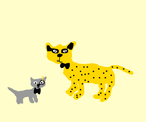 A big cat with a baby cat fancily dressed