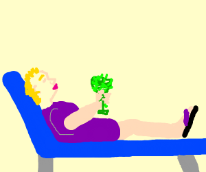 a short-haired lady chillin' in a vine glass