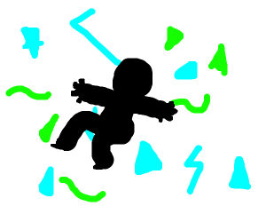 silhouetted man falling in nondescript shapes