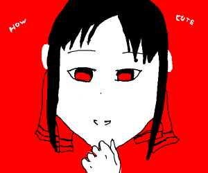 "creepy anime girl thinking ""how cute"""