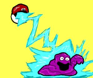 purple pokemon coming out of pokeball
