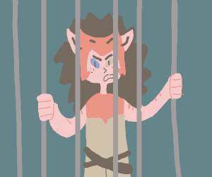 angry cat girl  behind the bars