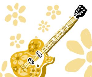 floral pattern guitar