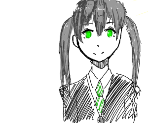anime girl with gray pigtails and green tie