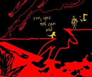 dinosaur chasing girl through mountains