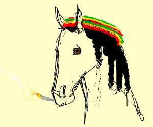 A very cool rastafarian horse