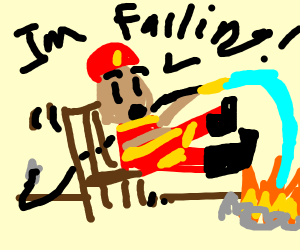 Fire man falling off chair, putting out fire
