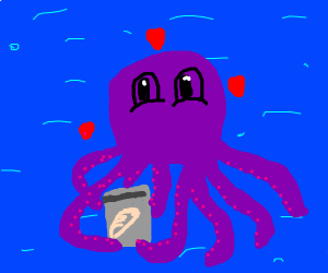 Octopus loves can of bread