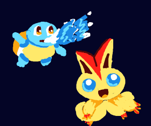 Squirtle fighting some fire pokemon