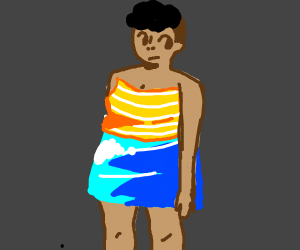 She wore a strapless dress w/ a vivid skirt