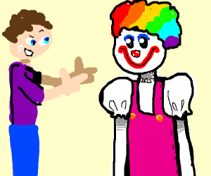 guy doing finger guns to a clown