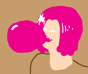 girl with pink hair blowing up pink balloon