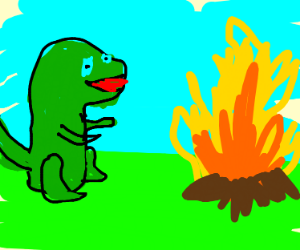 T rex looking into fire