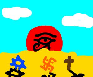 Eye of Horus Sunrise is Red... Plus, religion