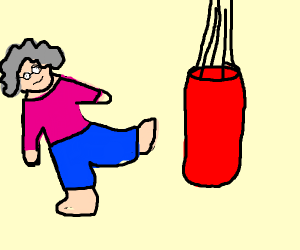 old lady doing karate moves