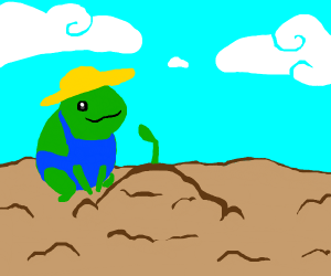 Frog tends to crops