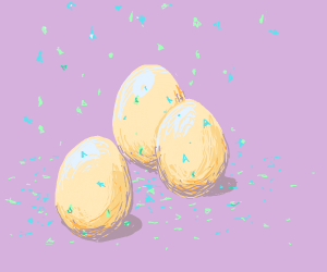3 eggs being showered with confetti