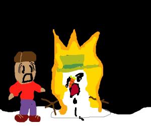 Snowman melts by fire. Inside, he screams