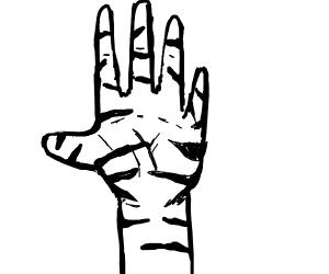 Hand has black stripes
