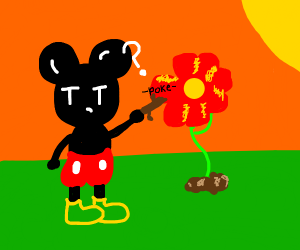 Mickey mouse pokes a flower with a stick