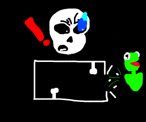 Kermit runs to get away from Sans