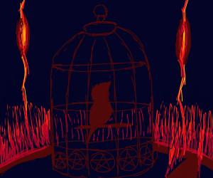 strange satanic drawing with bird cage