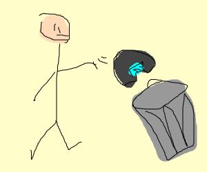 throwing away a helmet