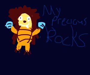 Porcupines holding rocks
