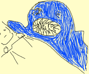 giant blue blob attacking people at night