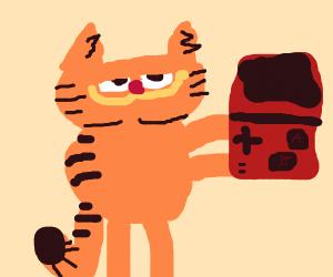 Garfield on a Gameboy