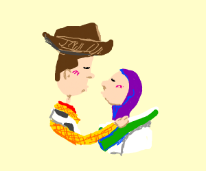 Woody and Buzz Kiss