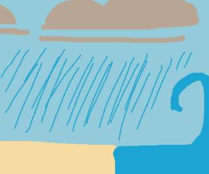 Storm on a beach