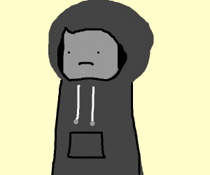 Sad hoodie boy with gray blocked face.