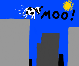 Cow leaps from a skyscrapper