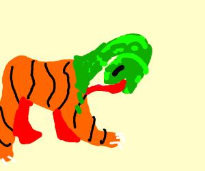a tiger snake hybrid licking itself
