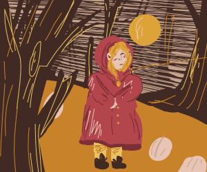 girl walks alone in the woods